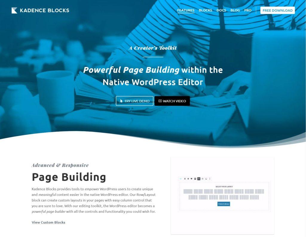 Kadence blocks - The 10 best Gutenberg WordPress plugins for building a website