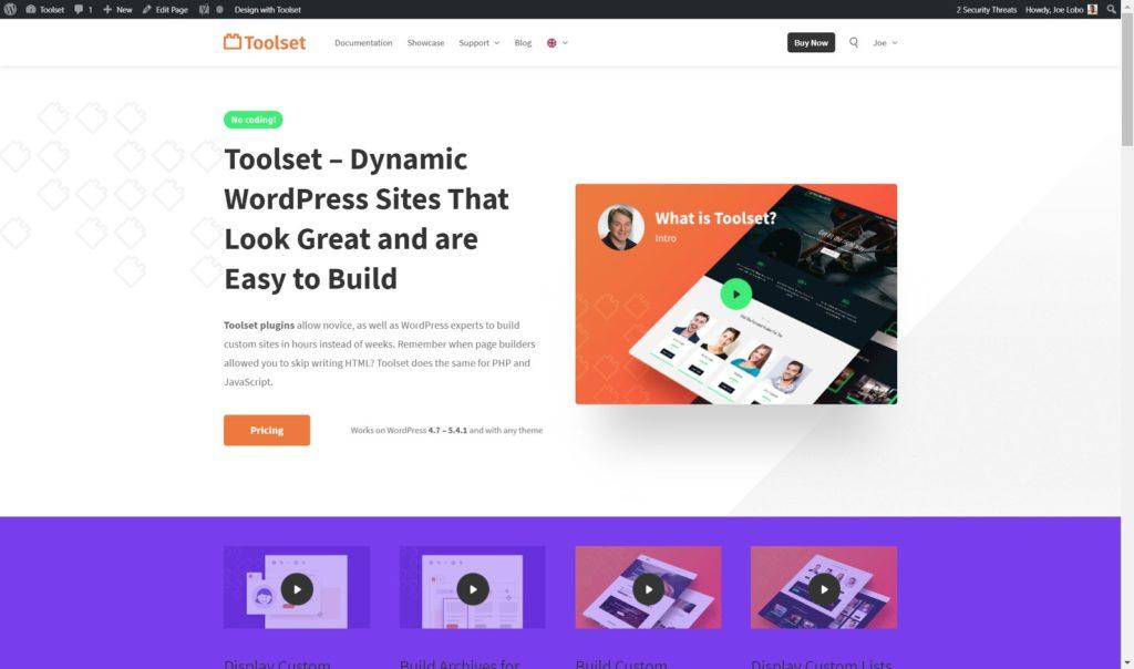Toolset homepage - The 10 best Gutenberg WordPress plugins for building a website