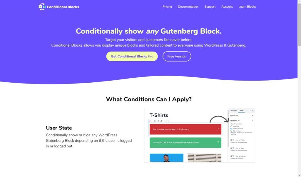 conditional blocks - The 10 best Gutenberg WordPress plugins for building a website