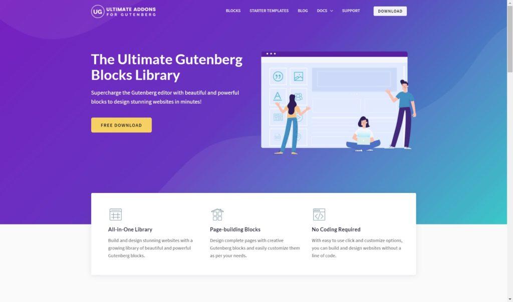 ultimate addons for Gutenberg - The 10 best Gutenberg WordPress plugins for building a website