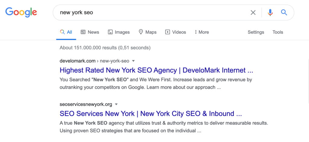new york seo serp 3 - Case: 1st place in two days for 'New York SEO'