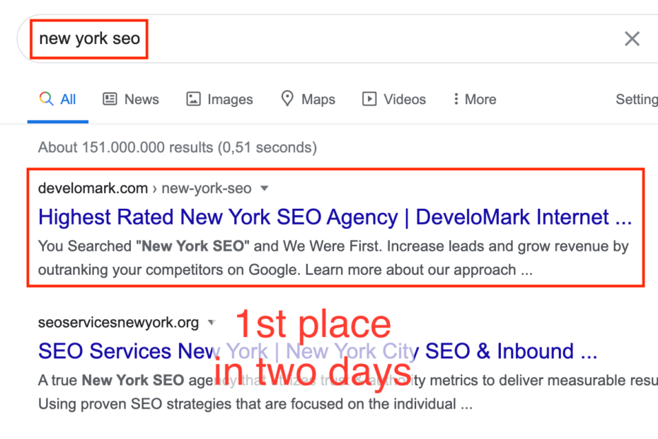 new york seo serp 5 - Case: 1st place in two days for 'New York SEO'