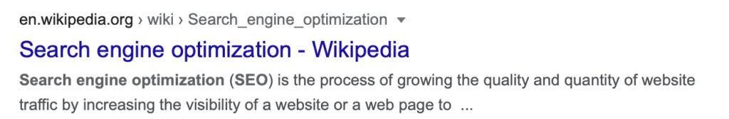 Snippet Wikipedia