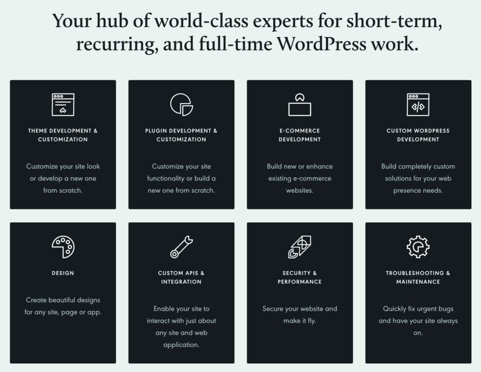 Your hub of world-class experts for short-term, recurring, and full-time WordPress work.