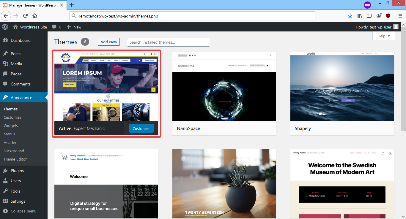 Screenshot activate the theme through the Admin dashboard