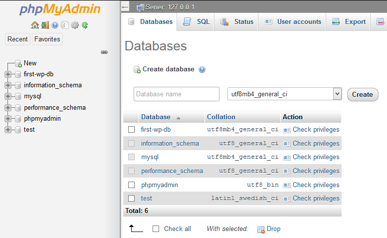 Screenshot of all databases on the machine.