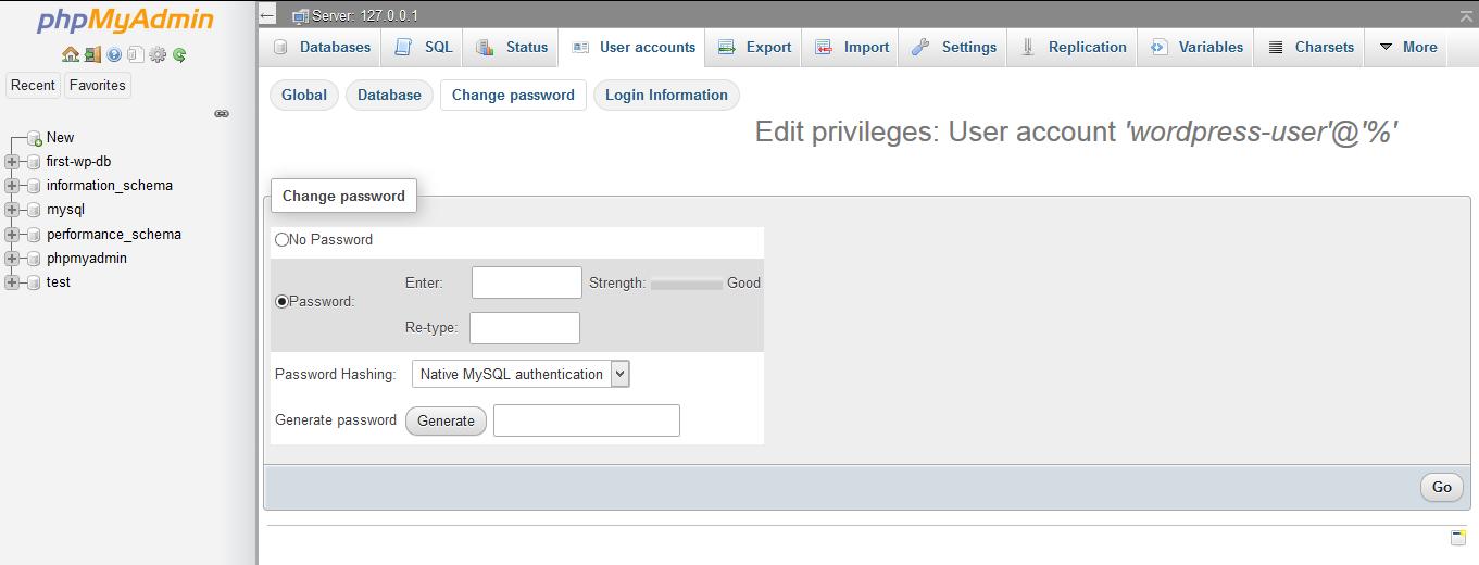 Change password.