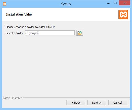 Screenshot XAMPP choose folder