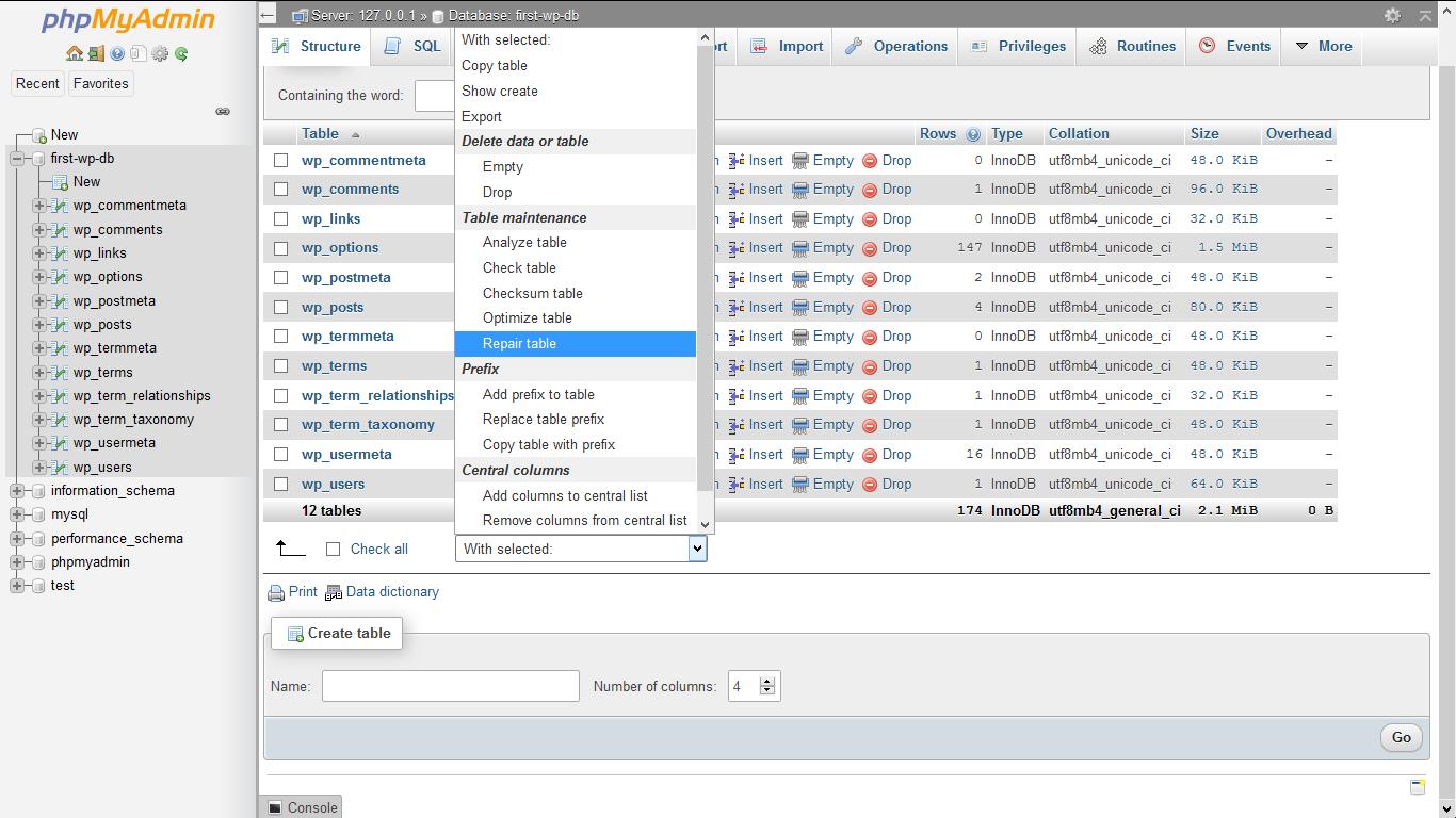 choose repair table - phpMyAdmin WordPress Database Management - Step by Step