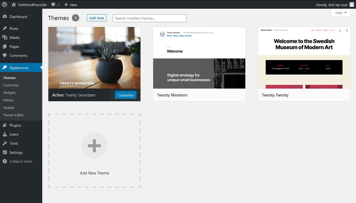 Screenshot click add new theme