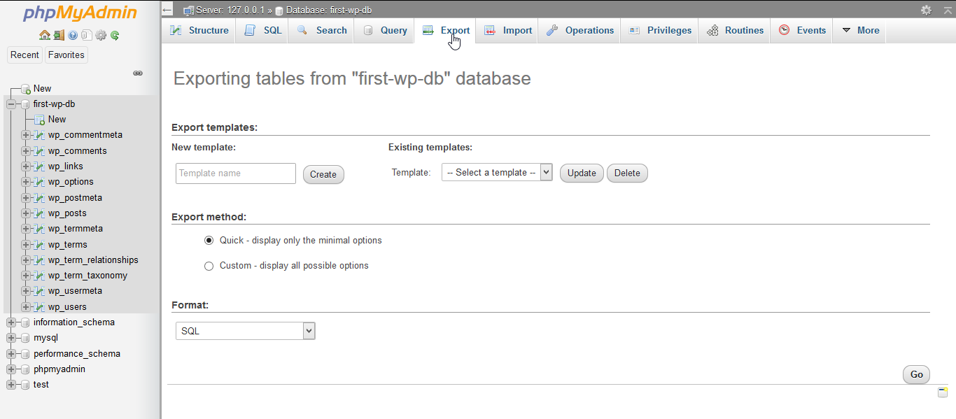 """Exporting tables from """"first-wp-db"""" database."""