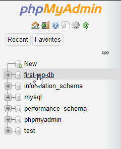 Alternatively, we could have clicked on the database name found in the phpMyAdmin sidebar.