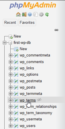 Click on the table name on the phpMyAdmin sidebar.