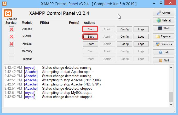"Click ""Start"" on the ""Apache"" and ""MySQL"""