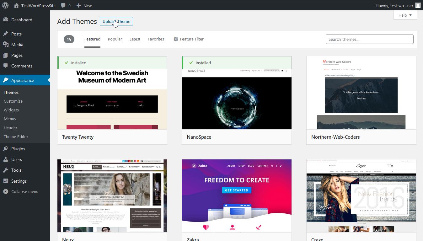 Screenshot click upload theme