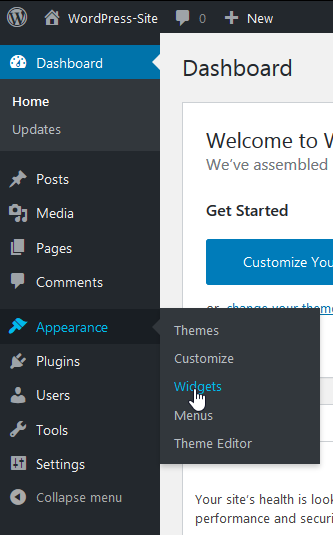 "hover over ""Appearance"" and then click ""Widgets"""