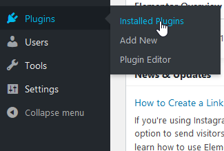 Screenshot: Hover over 'Plugins' and click 'Installed Plugins'