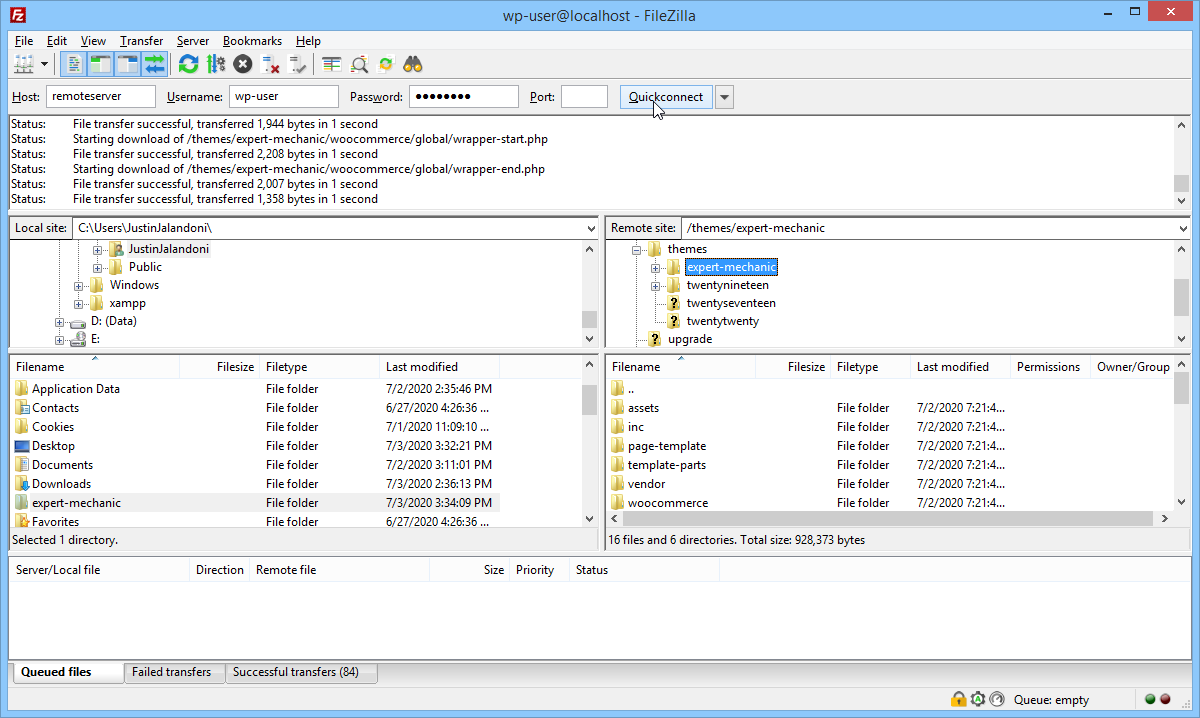 Screenshot connect to the remote server using FileZilla