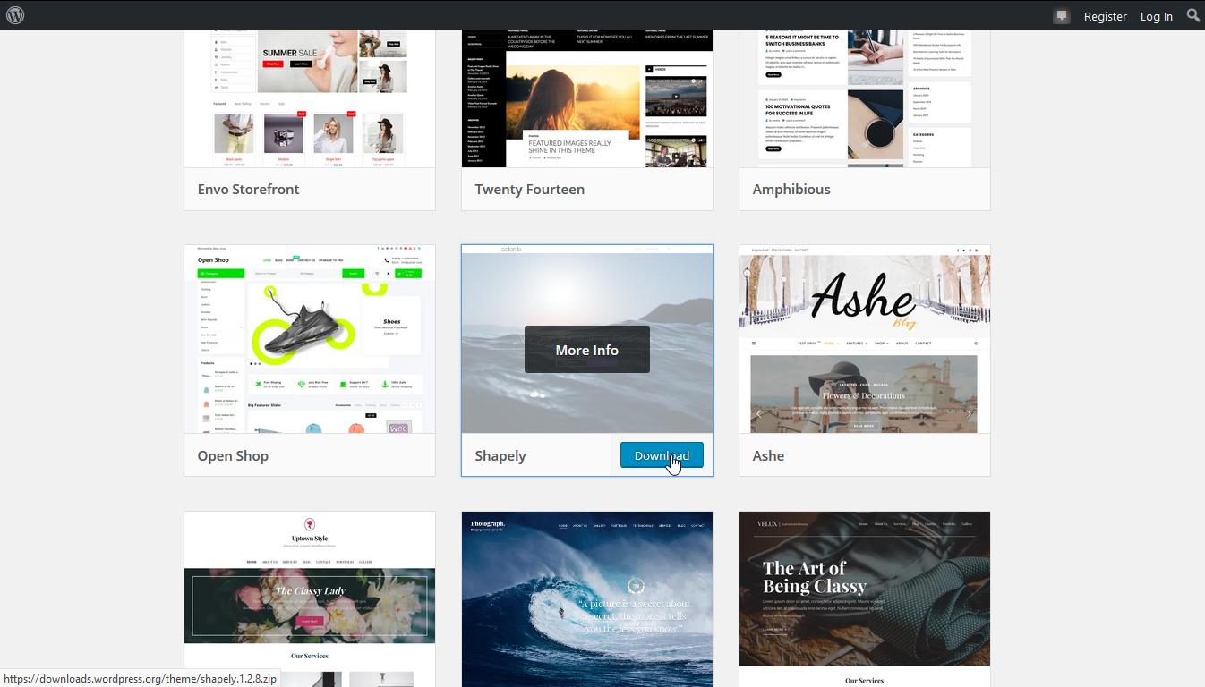 Screenshot themes from WordPress.org