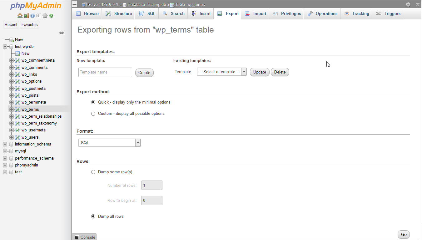 Export a table on phpMyAdmin.