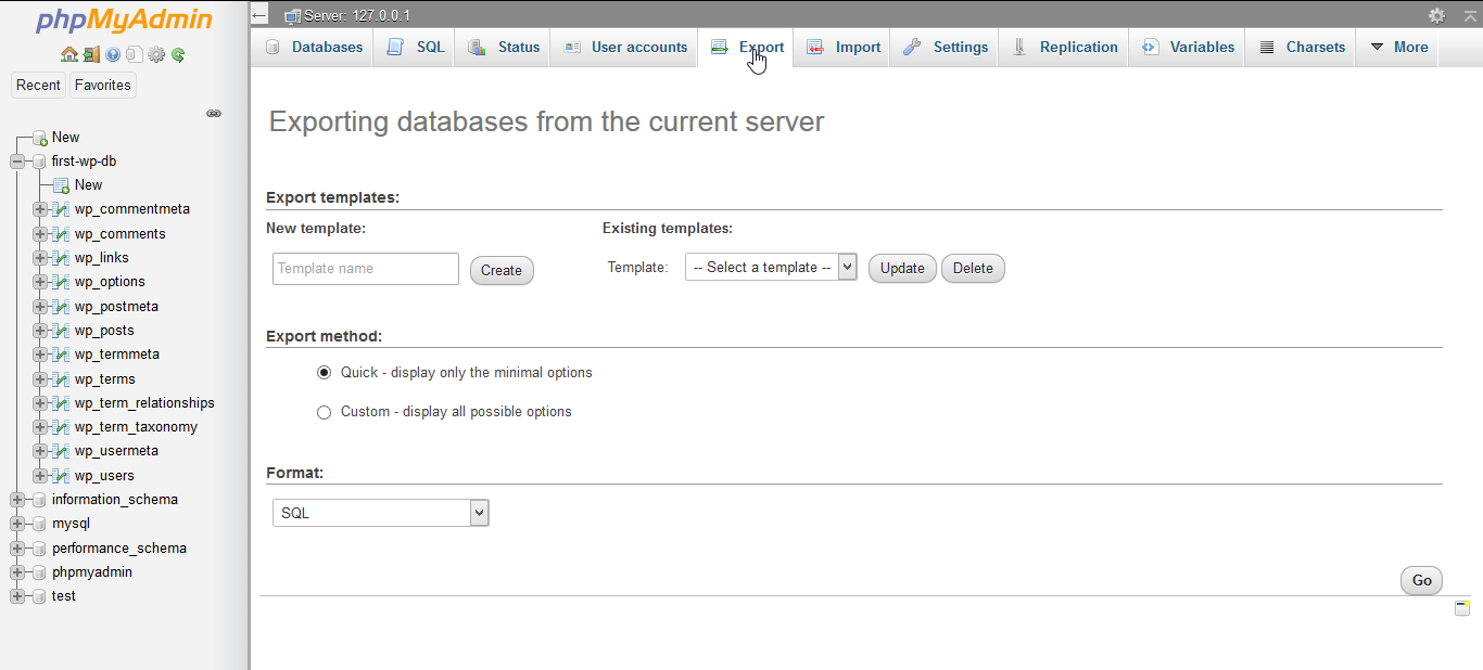 Export the databases