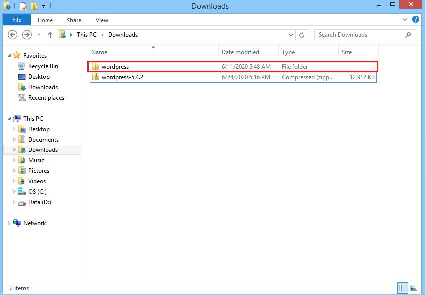 Screenshot WordPress folder