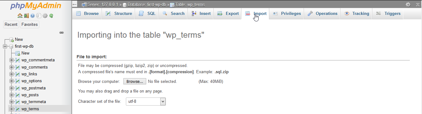 "Importing into the table ""wp_terms""."