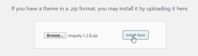 Screenshot install theme