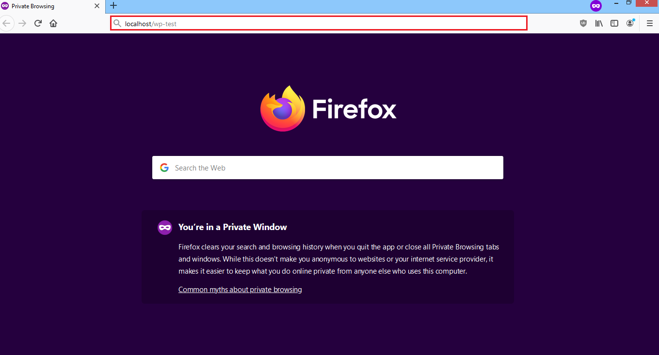 web browser with localhost/wp-test