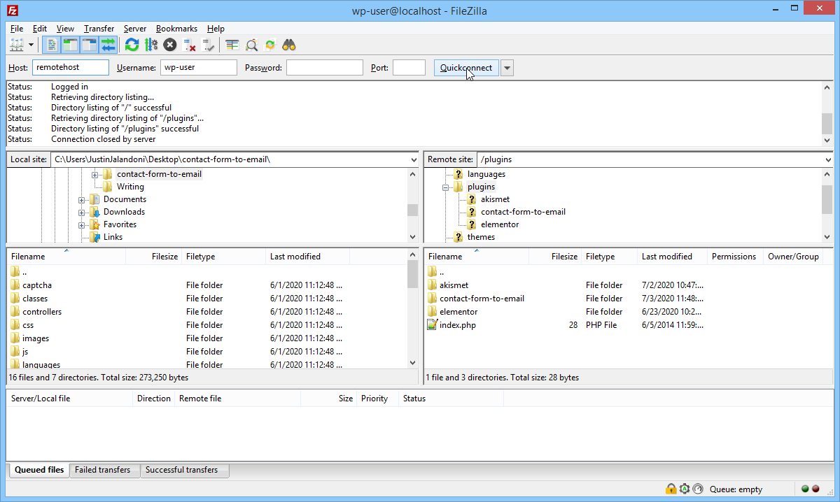 Screenshot FTP client