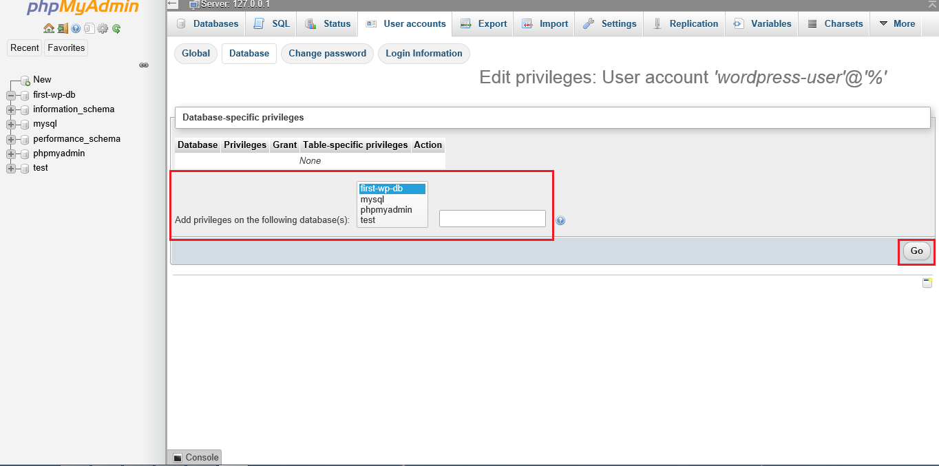Screenshot phpMyAdmin add privileges