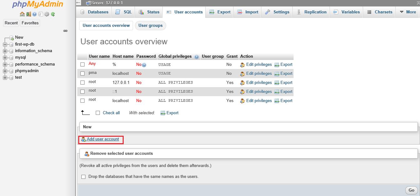 Screenshot phpMyAdmin click add user account