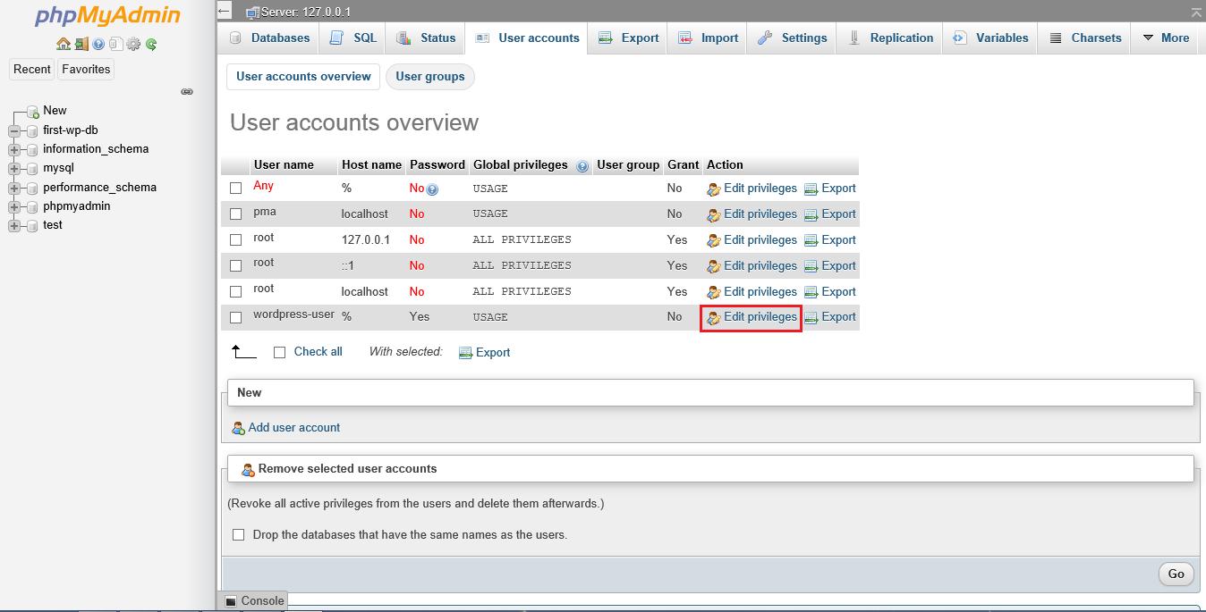 Screenshot phpMyAdmin click edit privileges