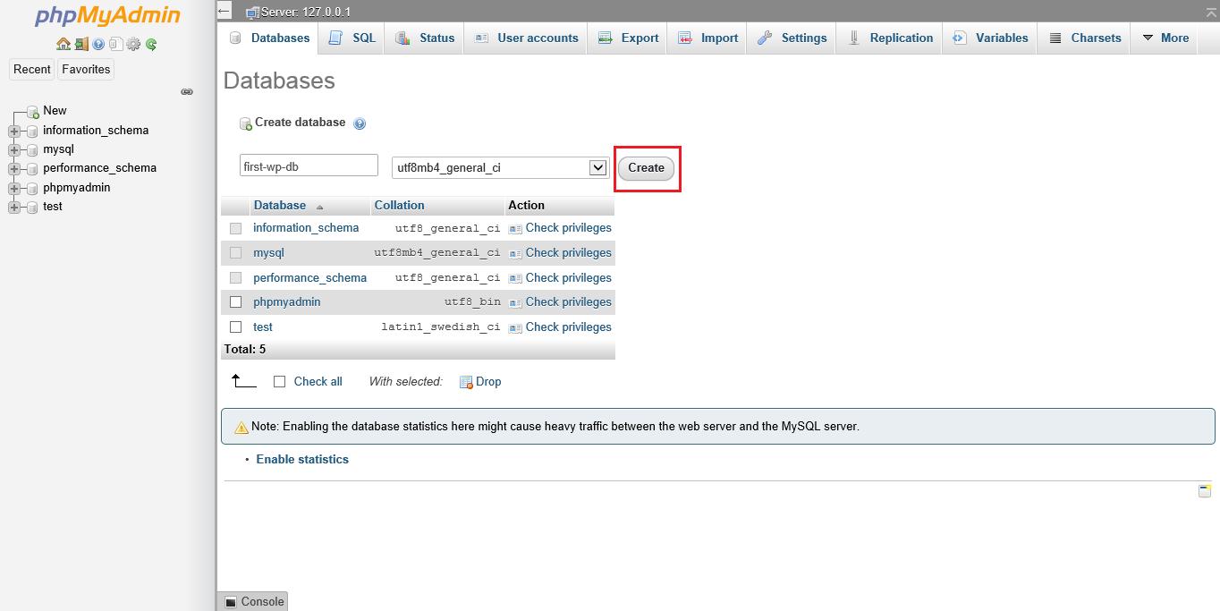 Screenshot phpMyAdmin naming database