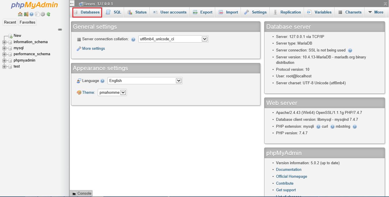 Screenshot phpMyAdmin click database