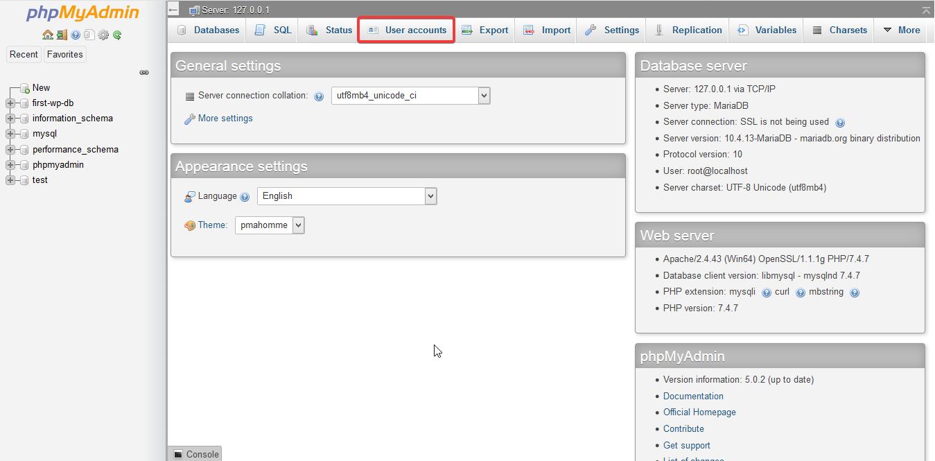 Screenshot phpMyAdmin click user accounts
