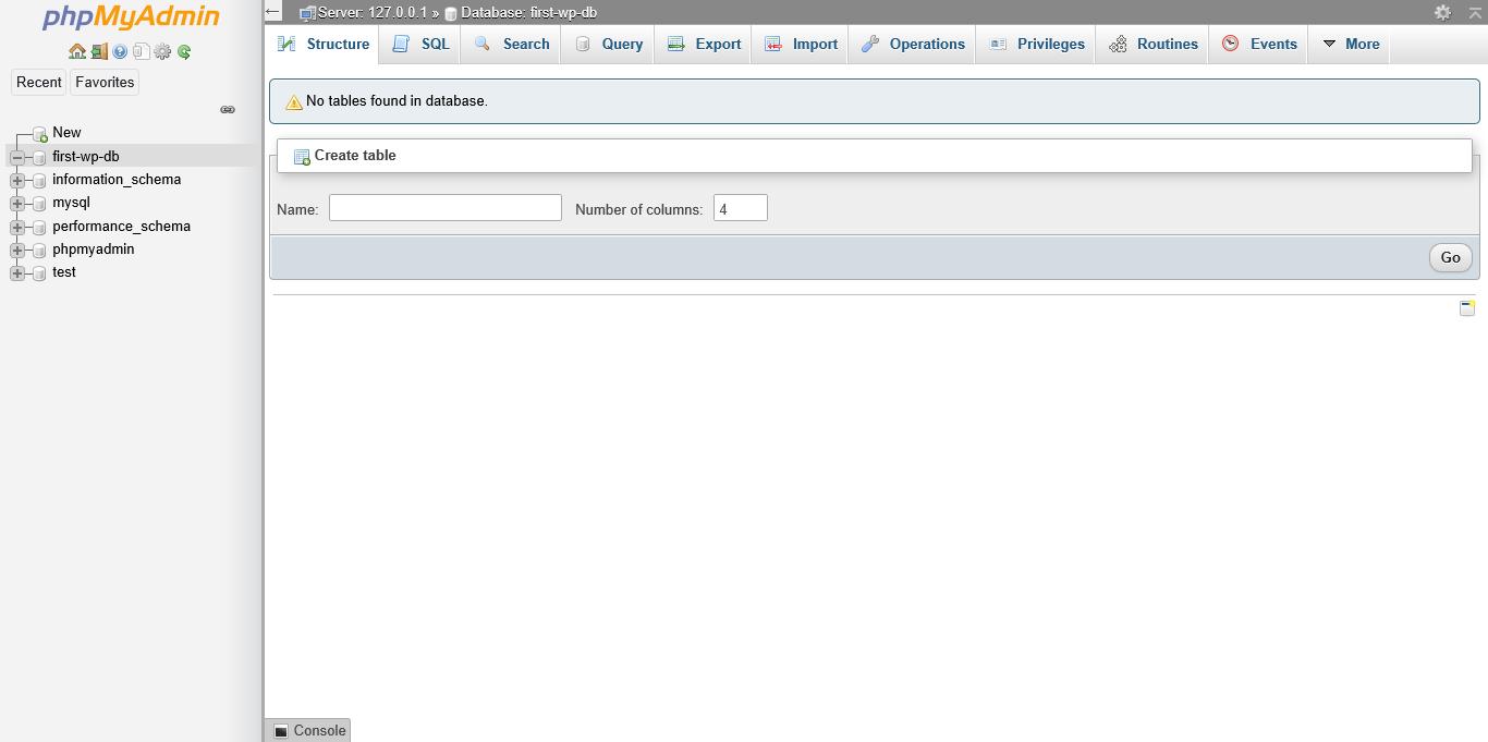 Screenshot phpMyAdmin 'Create Table'