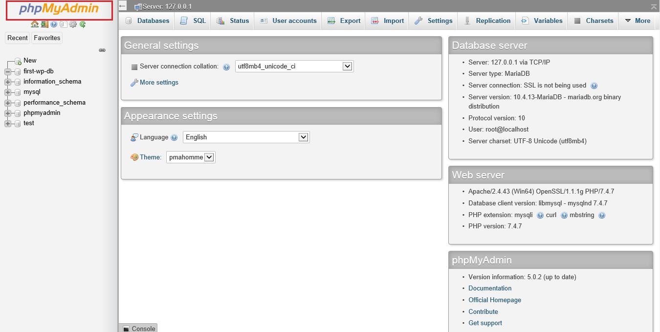 Screenshot phpMyAdmin homepage