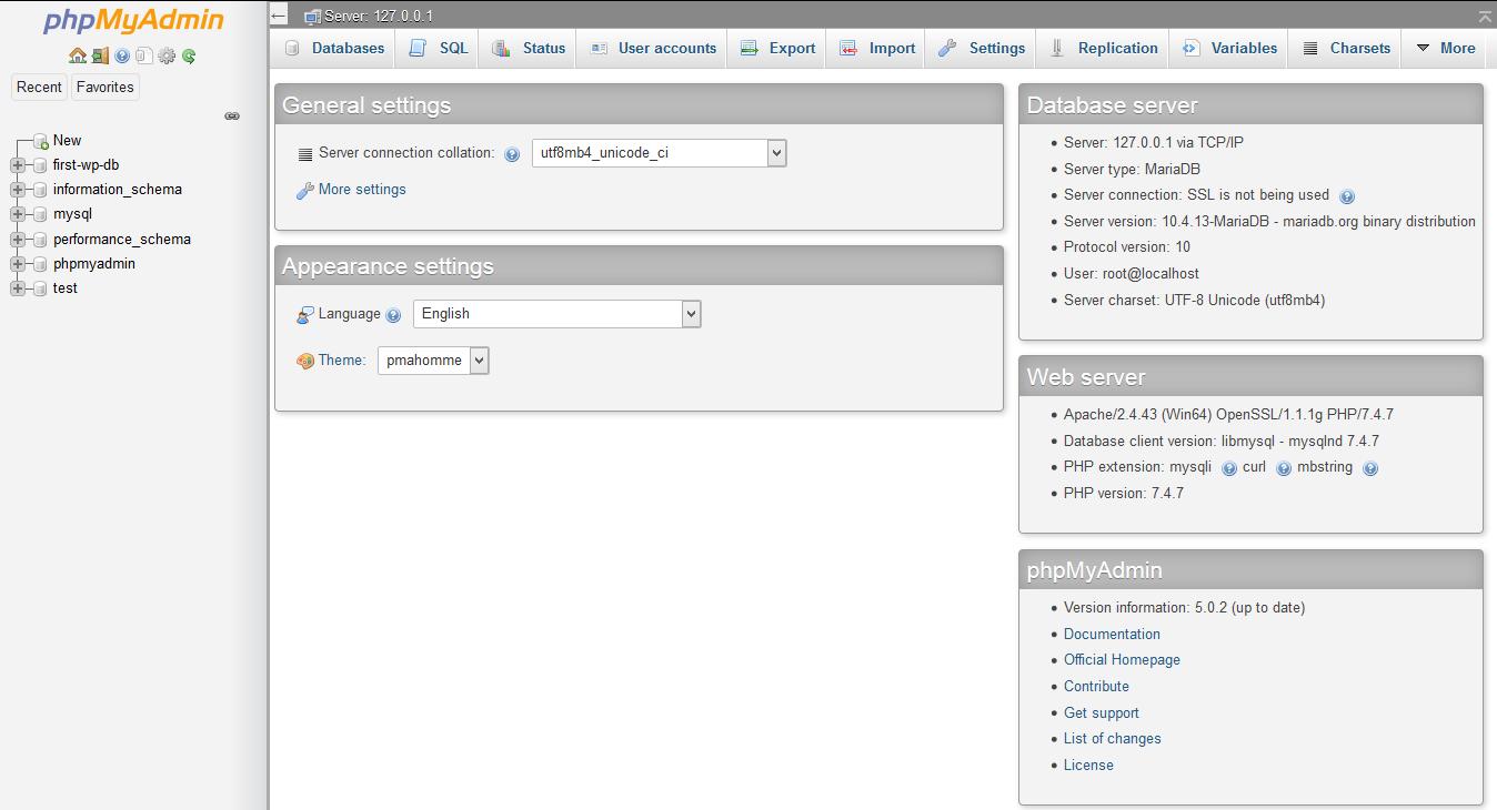 phpMyAdmin index page