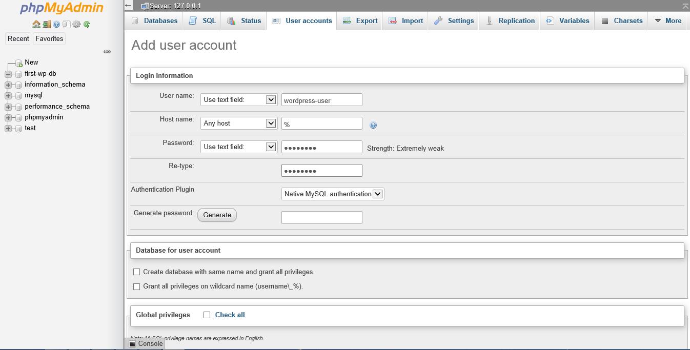 Screenshot phpMyAdmin add user account