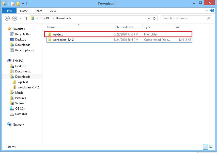 Screenshot rename WordPress folder