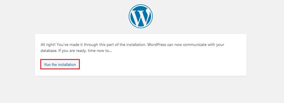 "Click ""run the installation"""