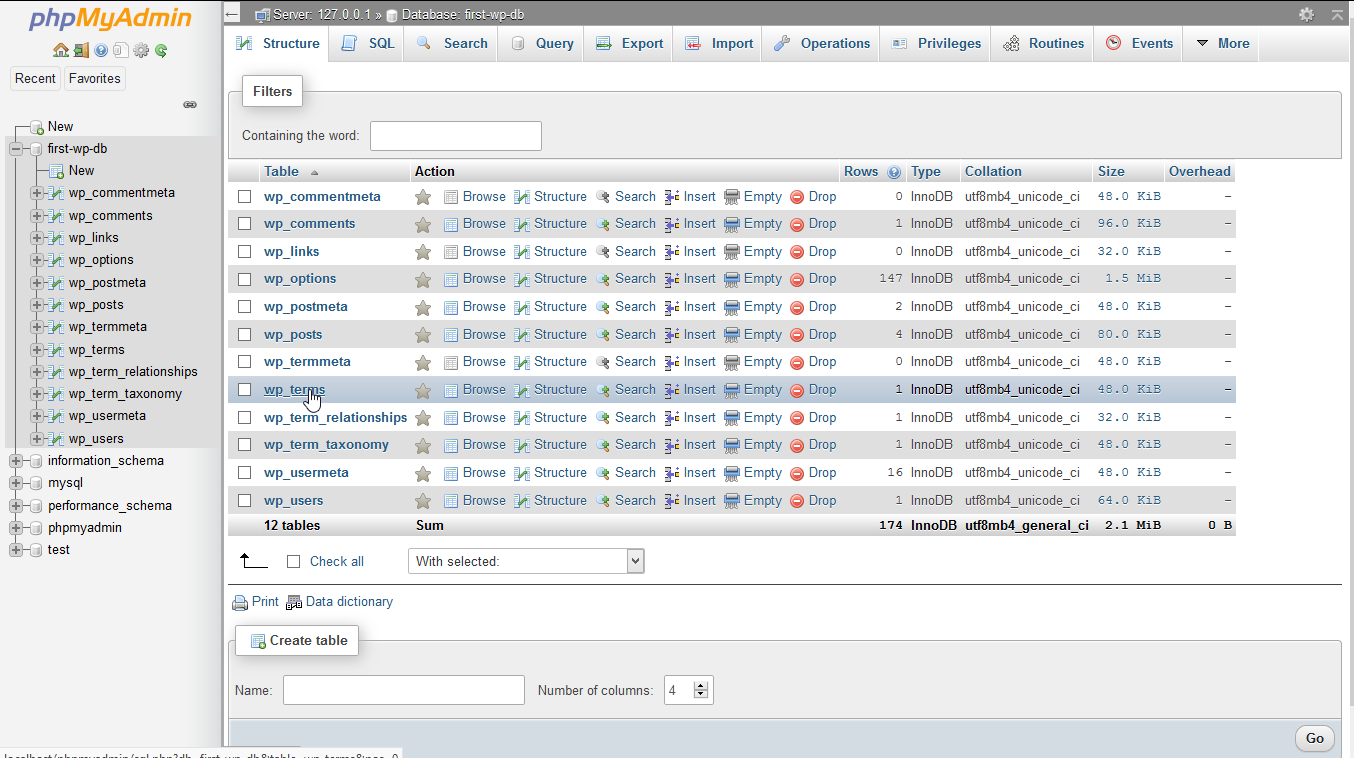 Select the database containing the table whose entries you want to browse.