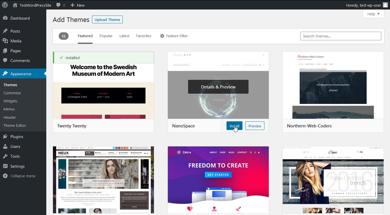 Screenshot selection of themes