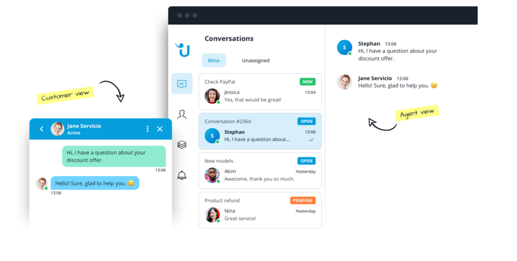 Userlike customer and agent view