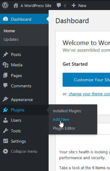 WordPress Dashboard: click Plugins - Add New
