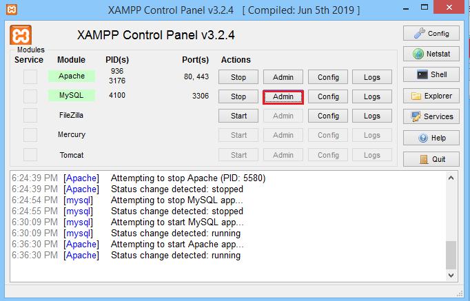 Screenshot XAMPP click Admin
