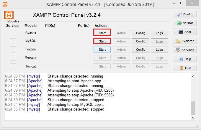 Screenshot XAMPP click Start
