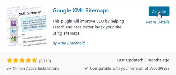 "Activate ""Google XML Sitemaps"""