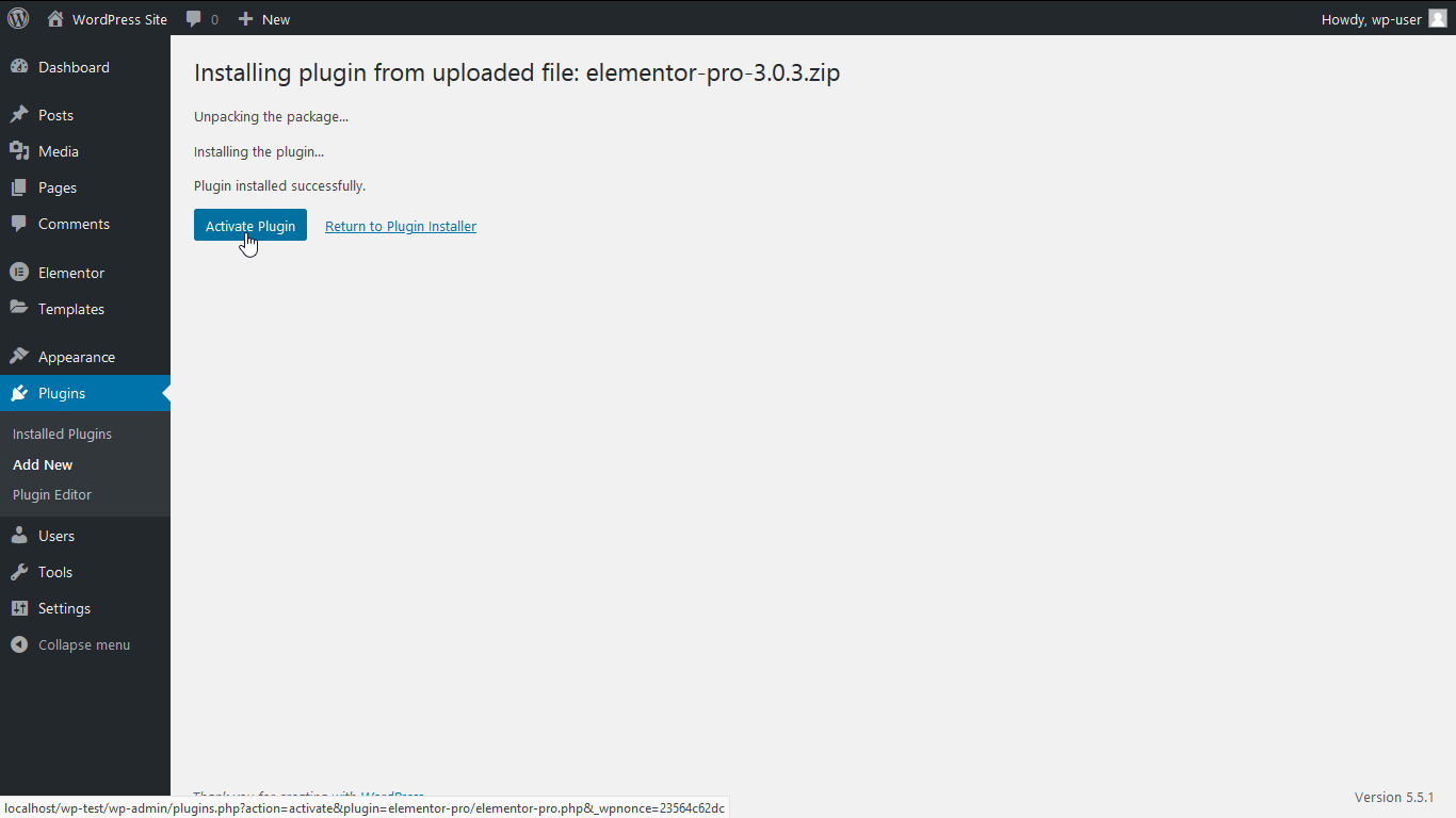 Installing plugin from uploaded file.